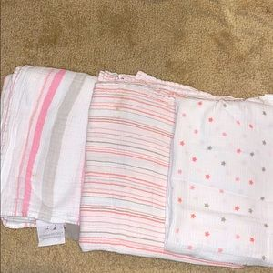 Aden & Anais Three baby girl swaddle blankets